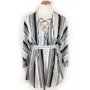 Lucca Couture Lace-Up Striped Romper